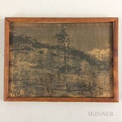 William Morris Hunt (American, 1824-1879)     Landscape Drawing