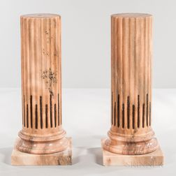 Pair of Neoclassical-style Fluted Columnar Marble Pedestals