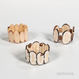 Three Inuit Walrus Ivory Bracelets