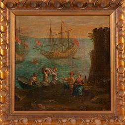 Continental School, 18th Century      Figures Unloading Ships on a Rustic Shore