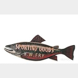 "Two-sided Painted Fish-form ""H.W. Fry Sporting Goods"" Trade Sign"