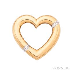 18kt Gold and Diamond Heart Brooch, Paloma Picasso, Tiffany & Co.