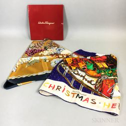 Karl Lagerfeld and Salvatore Ferragamo Silk Scarves