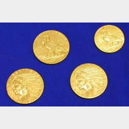1909, 1910, and 1911 Indian Half Eagle Five Dollar Gold Coins and an Indian Quarter Eagle 2 1/2 Dollar Gold Coin.