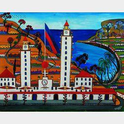 Prefete Duffaut (Haitian, b. 1923)    View of Port au Prince