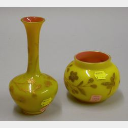 European Yellow over Pink Enameled Cased Glass Vase and Bowl