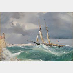 Antonio de Simone (Italian, 1851-1907)      Portrait of an American Schooner Yacht Entering Valletta Harbor, Malta.