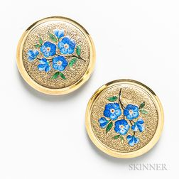 """14kt Gold and Enamel """"Forget Me Not"""" Cuff Buttons"""
