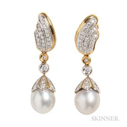 18kt Gold, Cultured Pearl, and Diamond Earpendants
