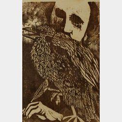 Lot of Two Woodblock Prints:      Antonio Frasconi (Argentine, b. 1919), Edgar Allan Poe