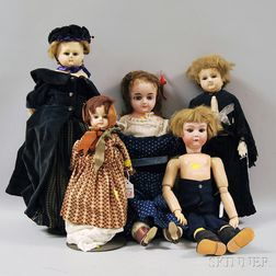 One Bisque, One Composition and Three Waxed Composition Dolls