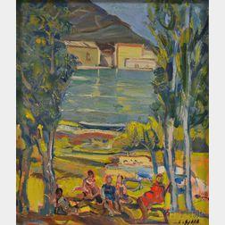 Costantino Spada (Italian, 1922-1975)      Picnic on the Lakeshore
