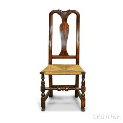 Queen Anne Turned Maple Rush-seat Side Chair