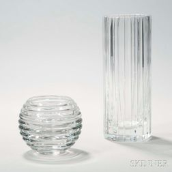 Two French Colorless Crystal Vases
