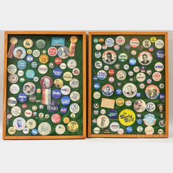 Two Framed Groups of American Political Campaign Buttons
