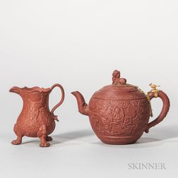 Two Red Stoneware Tea Wares