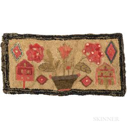 Hooked Rug with Houses and Potted Flower