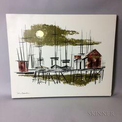 Johnny Donnels (Louisiana, 1924-2009)       Modernist Dock Scene
