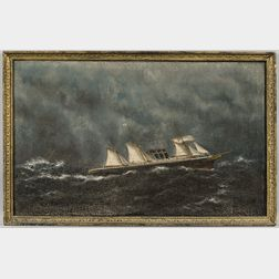 William P. Stubbs (Maine/Massachusetts, 1842-1919)      Steamship in Rough Seas