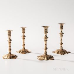 Two Pairs of English Petal-base Candlesticks