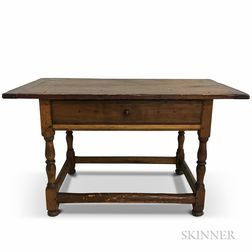 William and Mary Turned Maple and Pine Stretcher-base One-drawer Tavern Table