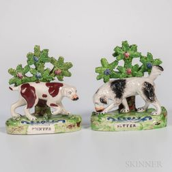 Pair of Staffordshire Bocage Pointer/Setter Figures