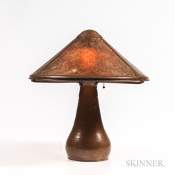 Dirk Van Erp (American, 1860-1933) Hammered Copper Lamp with Mica Shade