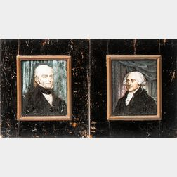 American School, Early 19th Century      Pair of Miniature Portraits of John Adams and John Quincy Adams After Previous Works