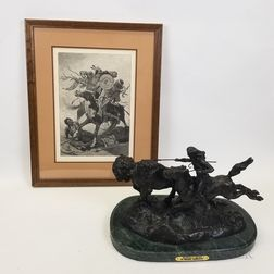 Bronze Buffalo Hunt   After Remington and a Framed Print.
