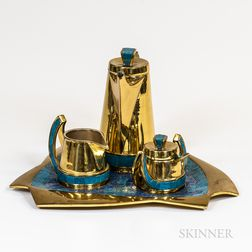 Mexican Handwrought Brass Coffee Set