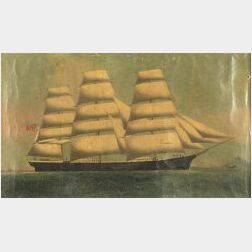 Chinese Export School, 19th Century  Portrait of a British Ship.