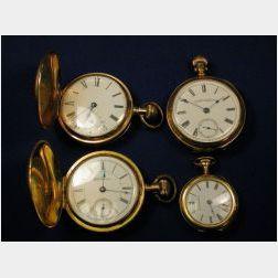 Four Pocket Watches, Appleton Tracy, Waltham and Seth Thomas