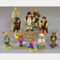 Ten Small Royal Doulton Porcelain Lord of the Rings and Bunnykins Character Figures