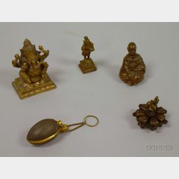 Five Small Bronze and Metal Figures and Other Articles