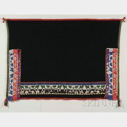 Prairie Black Wool Blanket with Ribbon Applique Decoration