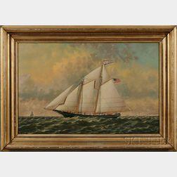 Joseph Lee (California, 1827-1880)      Portrait of the Schooner California   Sailing in Coastal Waters.