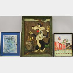 American School, 20th Century      Three Framed Fairy Tale and Cartoon Illustrations:   Sylvester the Cat