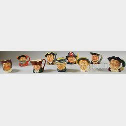 Nine Assorted Royal Doulton Ceramic Character Jugs