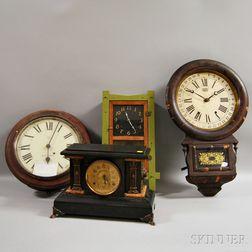 Three Wall Clocks and a Mantel Clock