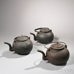Three Cast Iron Hearth Kettles