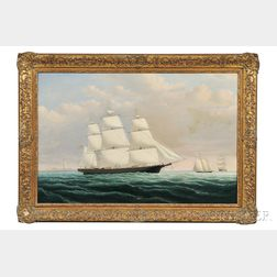 Attributed to William Bradford (Massachusetts/California, 1823-1892)      Portrait of the California Clipper Ship Phantom  .
