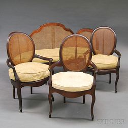 French Walnut Caned Settee and Three Fauteuil