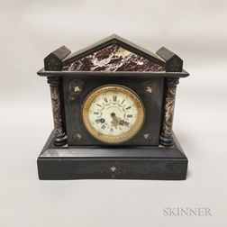 Marble and Belgian Black Slate Shelf Clock
