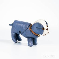 Blue and White Leather French Bulldog Clutch