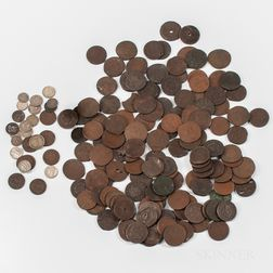Large Group of Large Cents and Canadian Coins and Tokens