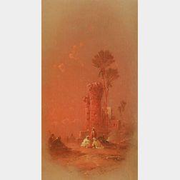 George Washington Nicholson (American, 1832-1912)  Sunset Behind the Ruins