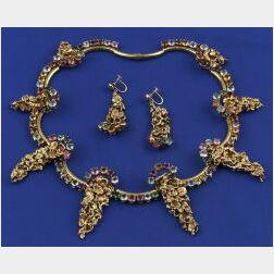 Gem-set Gold Nugget Necklace
