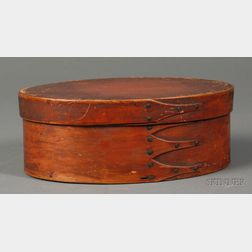 Red-stained Oval Covered Box