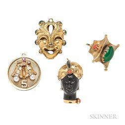 Four Gold Gem-set Charms