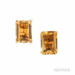 14kt Gold and Citrine Earclips, Seaman Schepps